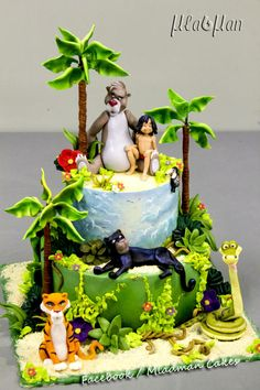 The jungle book cake Jungle Book Party, Jungle Cake, Jungle Theme, Safari Baby Shower Cake, Baby Shower Cakes, Safari Cakes, Book Cakes, Gateaux Cake, Different Cakes