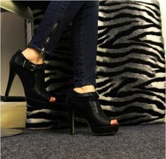 Fashionable Europe Stylish Fish Mouth Airtight Flannelette Shoe with High Heel on BuyTrends.com, only price $24.17
