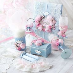 """Свадебный набор """"Небесно-голубой и розовый кварц"""" выполнен на заказ.  В набор…"""