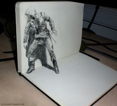You never know, what is hiding behind a sketchbook.