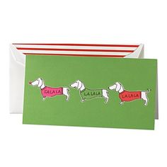 "This Kate Spade ""Fa La La"" holiday card set is SO perfect for dachshund lovers!"