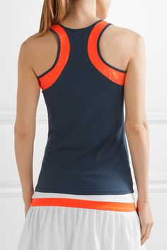 L'Etoile Sport - Two-tone Stretch-knit Racer-back Tank - Navy