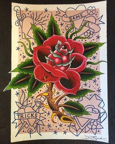 Same 'ol tricks. . . . . . . . . . . . . . #tattoo #tattooart #watercolor #painting #americana #traditional #classic #timeless #red #rose #flower #art #warped #arches #paper #sandiego #sandiegotattoo #sandiegoart #pacificbeach #california #thekingsheadtattoo #danberktattoo #memorialday #memorialdayweekend #pacificbeachlocals #sandiegoconnection #sdlocals #sandiegolocals - posted by Dan Berk https://www.instagram.com/danberktattoo. See more post on Pacific Beach at…