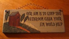 Primitive Home Decor Signs | RusticCountry Western Home Decor Wood OUTHOUSE Bathroom Sign NEW