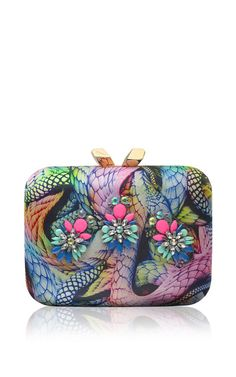 Large Morley Printed Satin Clutch by Kotur - Moda Operandi