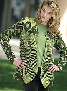 Ravelry: Harlequin Jacket pattern by Jane Slicer-Smith Knit Cardigan Pattern, Jacket Pattern, Knitting Stiches, Crochet Coat, Tunisian Crochet, Quilted Jacket, Knit Patterns, Knitwear, Couture