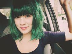 love the hair! wouldn't dye my  hair green, but the bangs are precious!