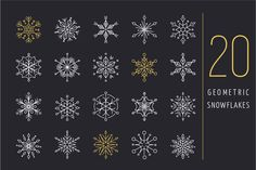 20 geometric snowflakes icons set by Marish on Creative Market