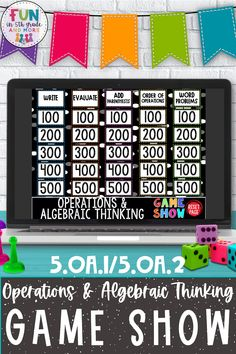This operations & algebraic thinking game show will have your students cheering when they see it! Grab this fun math Jeopardy game show for 4th grade, 5th grade or 6th grade review! This digital classroom activity requires students to practice writing simple expressions, use parentheses, brackets, or braces in numerical expressions, and evaluate expressions with these symbols & more!! Can be used in the classroom or during distance learning or virtual learning or hybrid learning model. Rounding Games, Fun Math Games, Classroom Games, Math Patterns, Number Patterns, Upper Elementary, Elementary Math, Teaching 5th Grade, 4th Grade Math