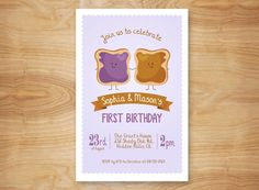 Twins Birthday Invitation PB&J Peanut Butter and by AdornedHeart, $15.00