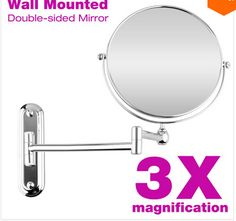 Makeup Mirror 8 Inches Wall Mounted Extending Folding Double Side 3X Magnification Cosmetic Mirror for Beauty Making Up Shaving - http://furniturefromchina.net/?product=makeup-mirror-8-inches-wall-mounted-extending-folding-double-side-3x-magnification-cosmetic-mirror-for-beauty-making-up-shaving