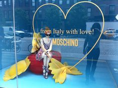 "Moschino, Meat Packing District, New York, ""Pasta.from Italy with Love"", pinned by Ton van der Veer Window Display Retail, Window Display Design, Moschino, Visual Display, Store Windows, Store Displays, Retail Design, Visual Merchandising, Store Design"