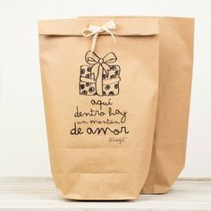 "Mr, wonderful, bolsas kraft ""Aquí dentro hay mucho amor"". #packaging"