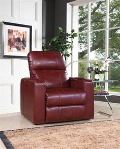 Larson Red Wood Foam Bonded Leather Power Recliner w/USB