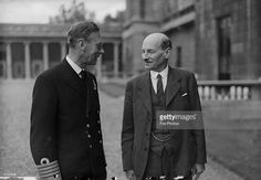 The new British Prime Minister Clement Attlee (1883 - 1967) talking to King George VI on a visit to Buckingham Palace, London.
