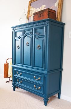 Paint furniture blue - Little Green Notebook: House Tour: Emily and Todd's Bedroom Refurbished Furniture, Paint Furniture, Repurposed Furniture, Furniture Projects, Furniture Making, Furniture Makeover, Home Projects, Blue Furniture, Vintage Furniture