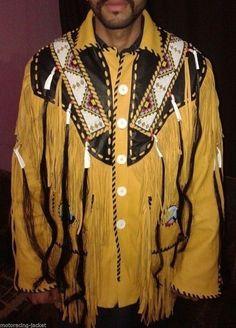 Western Fringed Buckskin Native American Indian Fringe Bones Coat jacket XS 5XL - Apparel & Merchandise