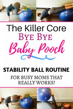 This stability ball ab workout is perfect for beginners for abs. Banish muffin tops and mummy tummy and get a flat belly after pregnancy at home or in gym. This exercise ball workout is your plan for losing weight with ab exercises as a postpartum workout https://www.musclesaurus.com/flat-stomach-exercises/ #pregnancyatwork,