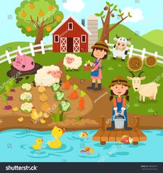 Landscape Illustration, Illustration Art, Kids Workshop, Picture Composition, School Murals, Class Decoration, Cartoon Pics, Drawing For Kids, Pebble Art