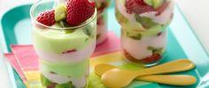 These easy and colorful fruit and yogurt parfaits are a fun match!