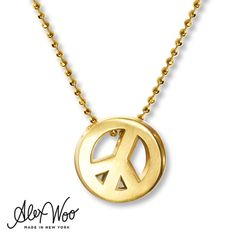 Alex Woo Peace Sign Necklace 14K Yellow Gold