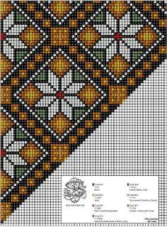 Nytt sett med perlemønster i gyldne toner. Cross Stitch Needles, Cross Stitch Charts, Cross Stitch Designs, Cross Stitch Embroidery, Cross Stitch Patterns, Bead Loom Patterns, Peyote Patterns, Beading Patterns, Palestinian Embroidery