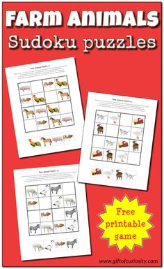 FREE Farm Animals Sudoku puzzles for kids in preschool through early elementary school. These kid-friendly Sudoku games stimulate critical thinking skills. Kids Learning Activities, Kindergarten Activities, Teaching Math, Fun Learning, Free Printable Worksheets, Worksheets For Kids, Free Printables, Sudoku Puzzles, Puzzles For Kids