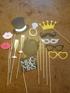 Wedding Photo Booth Props - 13 Piece Set - Glitter Photo Booth Set - Wedding Decorations - Wedding P Wedding Photo Booth Props, Photo Booth Backdrop, Party Props, Wedding Shoot, Engagement Party Decorations, Bridal Shower Decorations, Bridal Shower Props, Engagement Party Signs, Engagement Parties