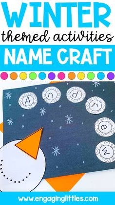 PreK/K Name Craft! If you are doing a winter theme this adorable name craft makes for a great classroom craft. Kindergarten Art Activities, Preschool Names, Winter Activities For Kids, Preschool Lessons, Winter Theme For Preschool, Winter Crafts For Preschoolers, Kindergarten Classroom, Classroom Themes, Preschool Ideas
