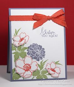 Cardstock:  Stampin' Up! (Wisteria Wonder), Papertrey Ink (white)  Stamps:  Stampin' Up! (Fabulous Florets), Papertrey Ink (Signature Greetings)  Ink:  Stampin' Up! (Wisteria Wonder, Pear Pizzazz, Calypso Coral), Clearsnap (Scarlet)  Tools:  Papertrey Ink (Linen & Canvas impression plate)