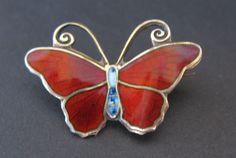 Hestenes Butterfly Brooch, Sterling Silver Red & blue Enamel Norway