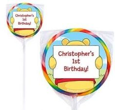 These custom Winnie the Pooh lollipops would be so cute for your child's 1st birthday party.  Each order comes with customized sticker and lollipops.