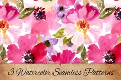Check out Watercolor patterns set by Juliett Illustration on Creative Market