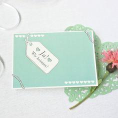 Süße Hochzeitskarte in der Trendfarbe Mint - nur bei weddix!