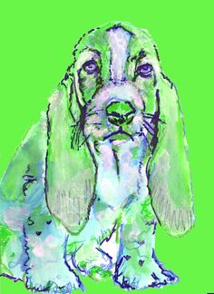 Basset Hound print wall art hand signed colorful Green dog portrait by Oscar Jetson by OjsDogPaintings: 7.18 GBP Basset… #dogs #etsy #art