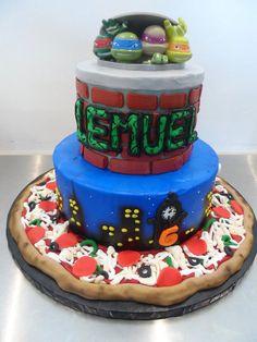 TMNT Teenage Mutant Ninja Turtles pizza birthday cake | Gala Bakery - San Lorenzo, CA | www.galabakery.com