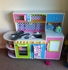 Infantastic® KDK06-Candy Children's Play Kitchen Candy with Microwave, Fridge, Dishwasher and Cupboards: Amazon.co.uk: Toys & Games