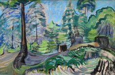 Artwork titled Untitled- Forest Scene by Emily Carr ID# presented by Mayberry Fine Art Canadian Painters, Canadian Artists, Impressionist Paintings, Landscape Paintings, Oil Paintings, Emily Carr Paintings, Group Of Seven Artists, Sleeping Beauty Ballet, Art Moderne