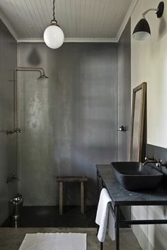 Eclectic 3/4 Bathroom with Soapstone, Shades of light classic etched globe pendant, Rain shower, Galvanized Shower Surround