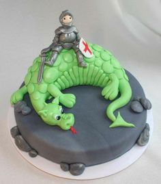 knight and dragon cake - way beyond my skill level but oh soo cute!