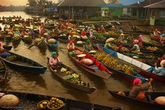 Floating market at South Borneo, Indonesia.