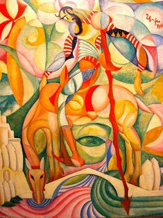 An artsy salmagundi Art And Illustration, Photography Illustration, Illustrations, Amazing Paintings, Amazing Art, Abstract Expressionism, Abstract Art, Dom Quixote, Cubist Art