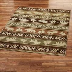 Timbercreek Canyon Trail Rug with Pine Tree Moose and Bears by Phillip Crowe for your upscale cabin lodge decorating style decor.