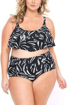 1128039ae5 Boutique + + Leaf Flounce Swimsuit Top-Plus Black And White Leaves, White  Leaf