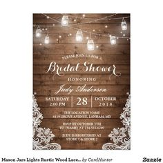 BRIDAL SHOWER Mason Jars Lace & Lights Rustic Country Chic Barn Wood Bridal Shower Invites Announcements Invitations  #bridalshower #wedding