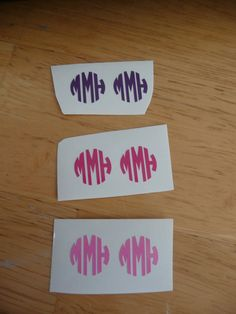"Set of 6 vinyl monogram decals (1/2"") by GSMonograms on Etsy - $3.30"