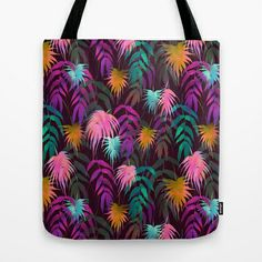 New Palm Beach - Fall Tote Bag By schatziBrown #tropical #pattern #watercolor #palm #leaf
