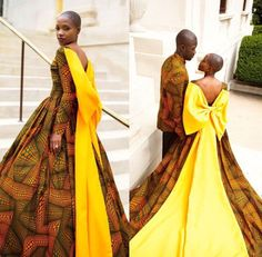 Formal Patterned Dress with Large Yellow Bow on Back- Djournae African Wedding Attire, African Attire, African Wear, African Women, African Dress, African Weddings, Nigerian Weddings, African Style, African Beauty