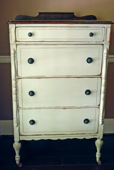 distressed white high boy dresser
