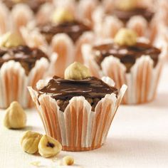 Chocolate-Hazelnut Brownie Bites Recipe from Taste of Home -- A plate of these rich, chocolaty bites makes a great gift! —Laura Majchrzak Hunt Valley, Maryland